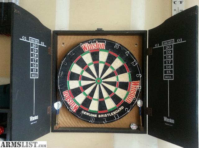 All Wood Winston Cabinet With Horse Hair Dartboard Inside. Comes With 2  Full Sets Of Quality Modular Darts. Inside Of Cabinet Doors Is Score Cards  Over ...
