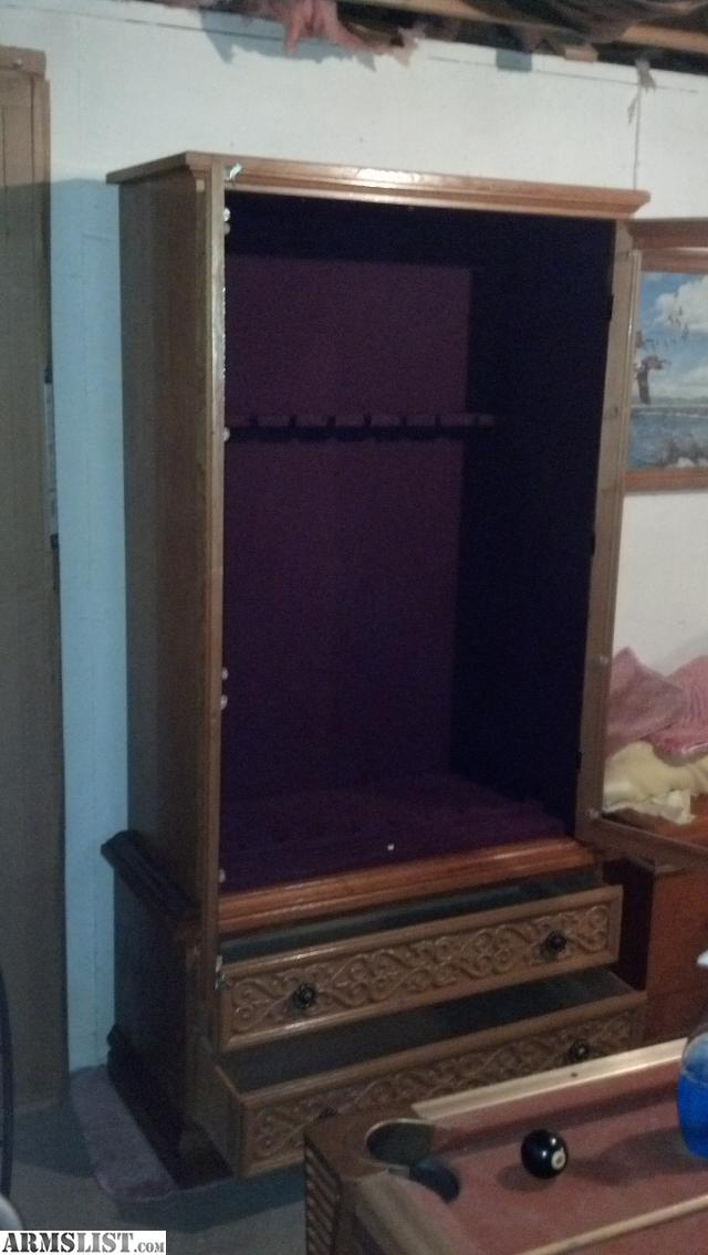 armslist for trade nice wooden 9 gun cabinet w carpeted interior