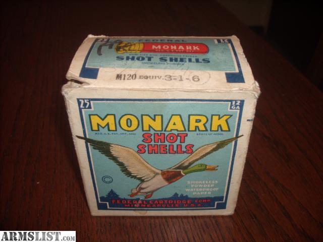 For sale vintage antique federal monark 12 gauge shotgun shells