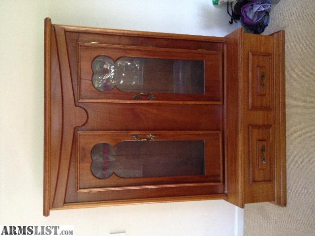 Great for displaying your antique firearms. Perfect for a log cabin or  Victorian home! Beautiful solid mahogany gun cabinet built for my family  over 50 ... - ARMSLIST - For Sale: Custom Built SOLID MAHOGANY Gun Cabinet Antique