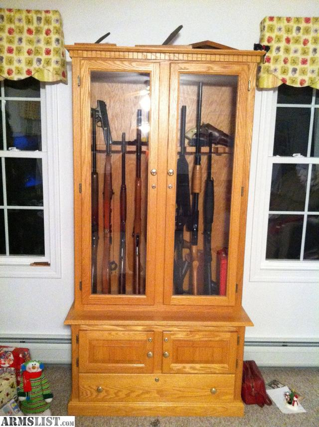 gun cabinets for sale armslist for solid wood oak gun cabinet 765 16129