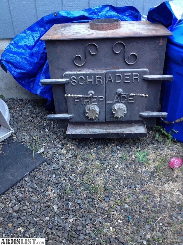 got to put in a cabin but that is still a couple years out.I beilive the  top hole is 8 inch could use new paint and 4 new fire bricks but that ... - ARMSLIST - For Trade: Shrader Wood Stove