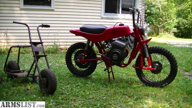 the red one is a mtd late 60s and larger than normal minibikes this has had all of the pivot points on the frame replaced