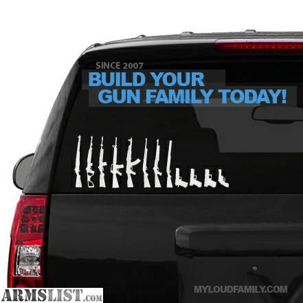 For sale gun family decal stickers