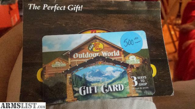 ARMSLIST - For Sale: $500 bass pro gift card