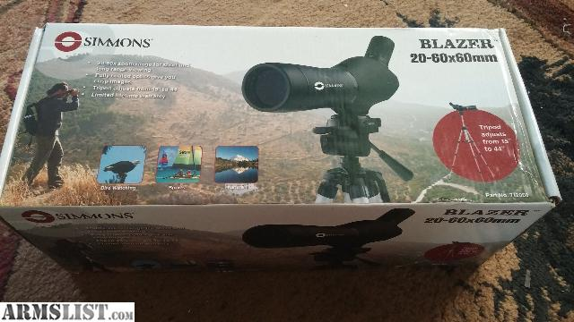 simmons 20 60x60 spotting scope. only used a handful of times works really good and is very clear up to few hundred yards, beyond that the eye relief not so great once zoom maxed simmons 20 60x60 spotting scope p