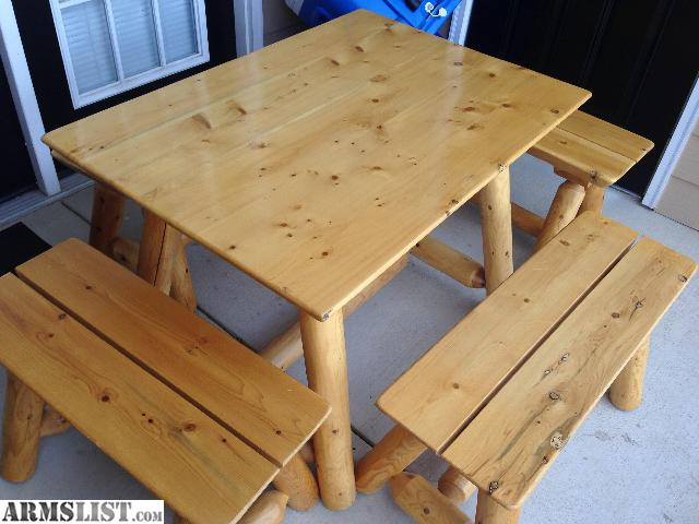 Armslist For Sale Trade Log Table And 4 Bench Set Weather Treated