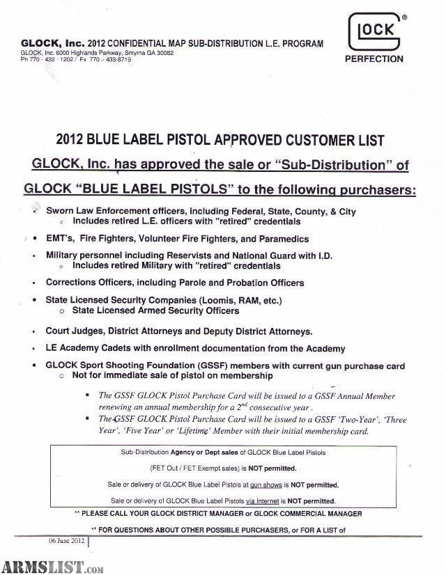 armslist - for sale: glock blue label distributor for your law