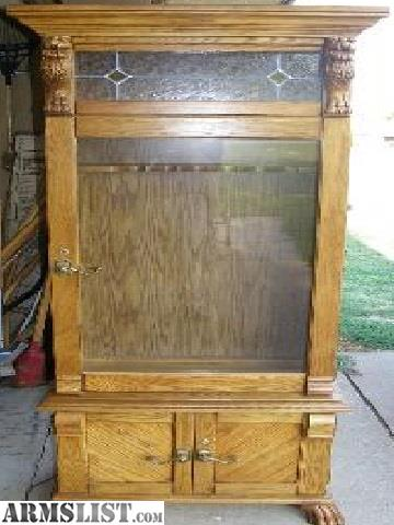 ARMSLIST - For Sale/Trade: Solid Oak Pulaski 6 Gun Cabinet ...