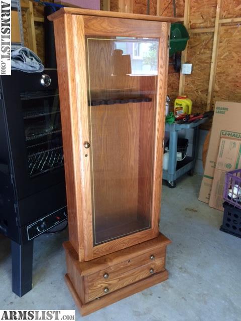 Armslist For Sale Gun Rifle Cabinet Oak Wood Glass Doors W
