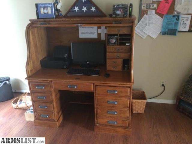 armslist for sale trade oak roll top computer desk. Black Bedroom Furniture Sets. Home Design Ideas