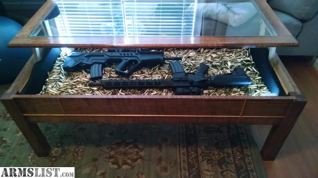 For Sale: REDUCED. Wood Gun Display Coffee Table. Hidden Drawer. + An Ar15
