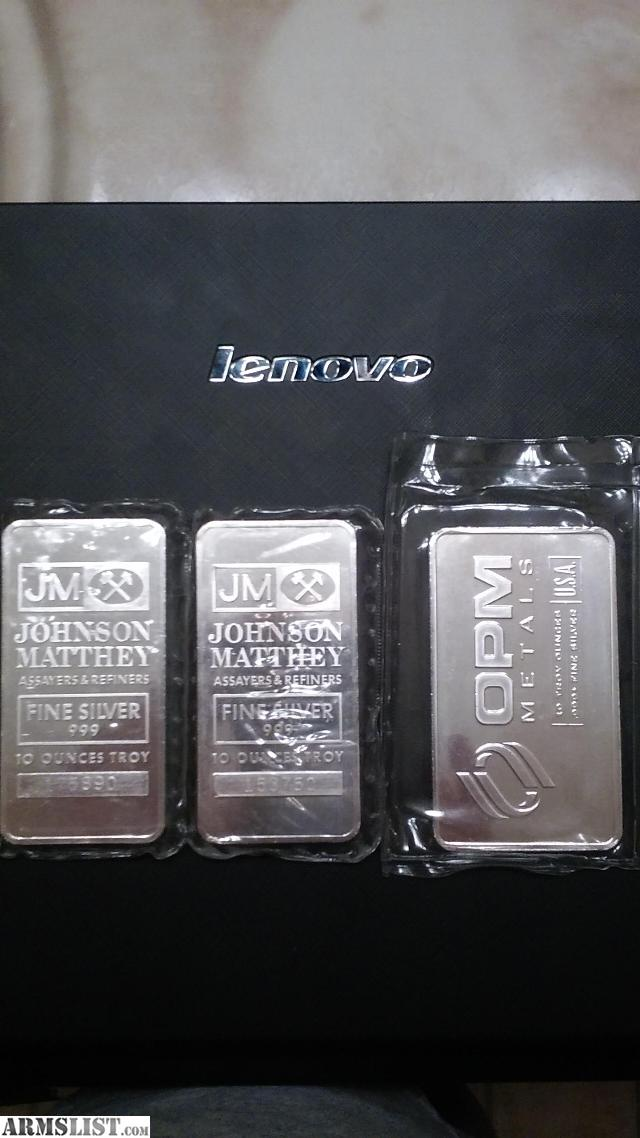 Armslist For Sale 3 10 Troy Ounce Pure Silver Bars