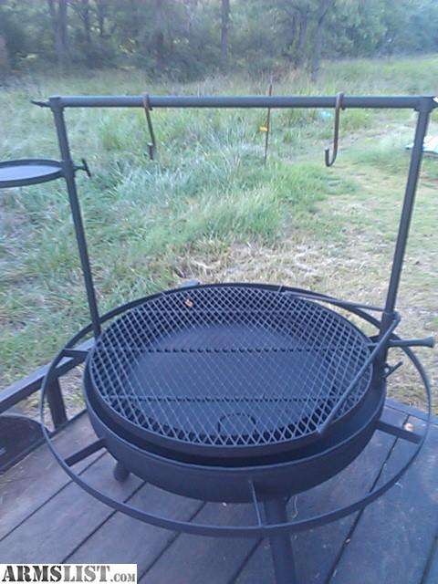 Custom Made Fire Pit Grill. The Large One Has A 36 Inch Diameter Shallow  Bowl 46 Inch Overall Diameter 31 Inch Swing Out Grate With Adjustable Height