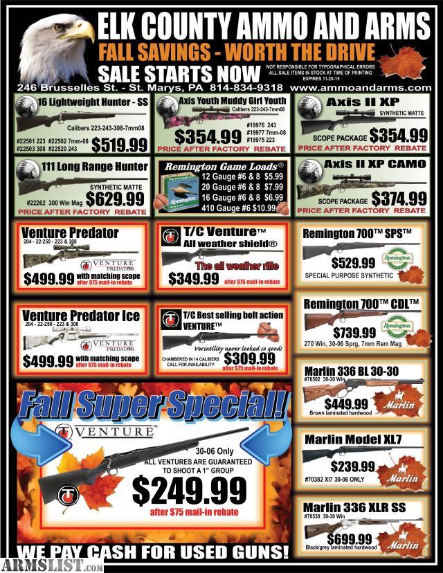 ARMSLIST - For Sale: Elk County Ammo & Arms 2015 Fall Season Sale ...