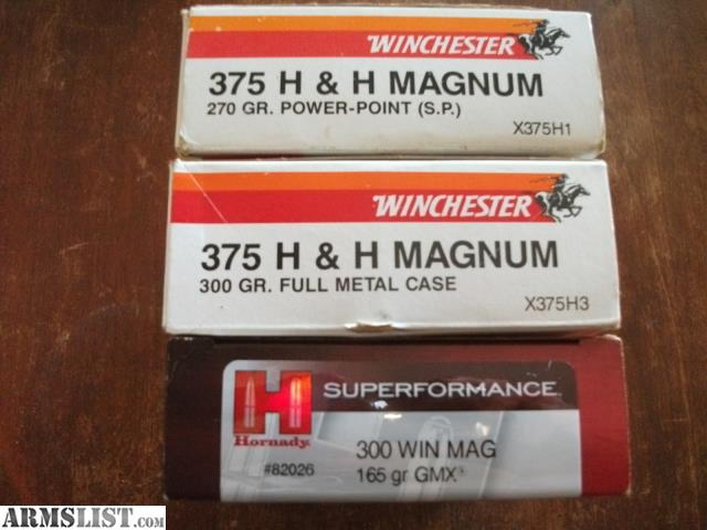 For Sale: 375 H&H AMMUNITION 300 WIN MAG AMMUNITION