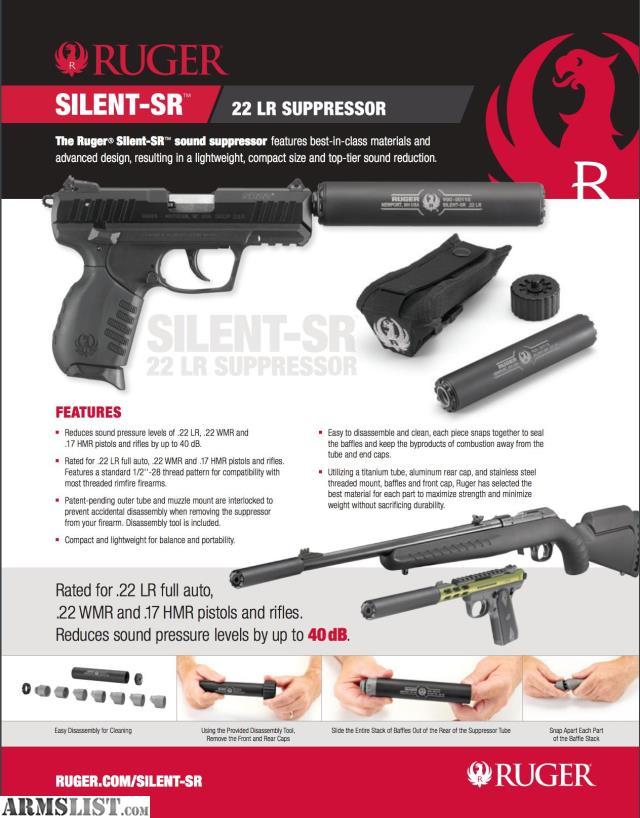 ARMSLIST - For Sale: Ruger Silent-SR Suppressor - 22 ...