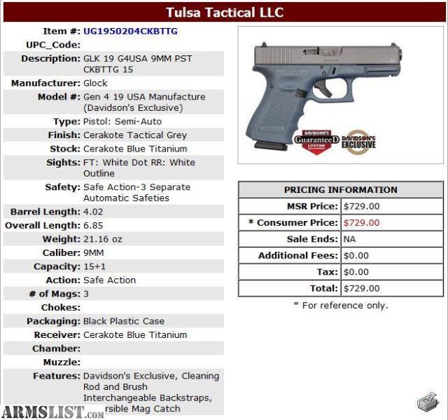 No Credit Check Credit Cards >> ARMSLIST - For Sale: Glock 19 Gen 4 Blue Titanium/Tactical Grey Cerakote