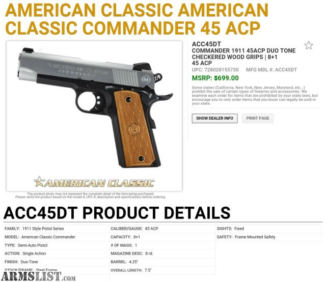 Armslist for sale american classic commander 45acp for New american classic