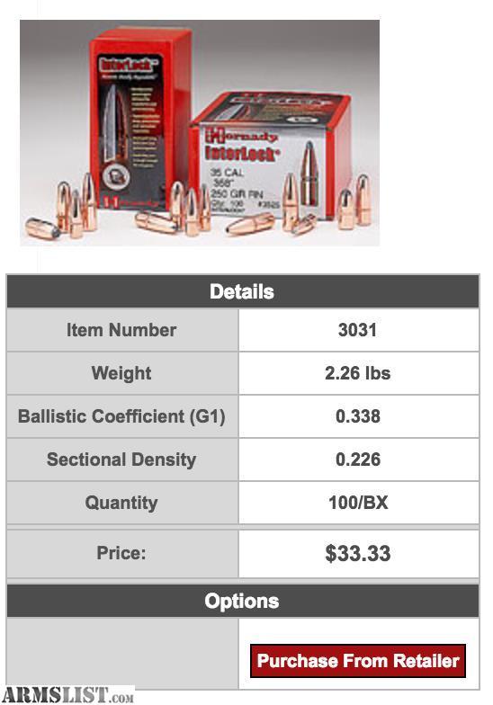 ARMSLIST - For Sale: Hornady Interlock 30cal (308) Bullets