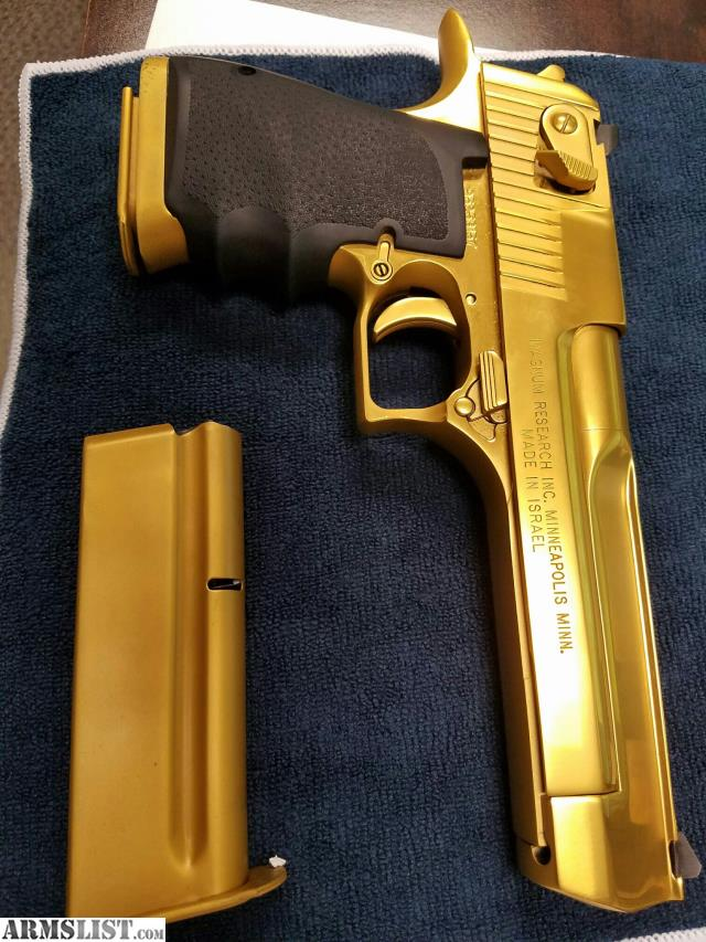 LNIB Desert Eagle 44 Magnum 24k Gold Finish Safequeen 50 Rds Down The Pipe 2 Mags And A Box Of High End Defensive Ammosuper Clean
