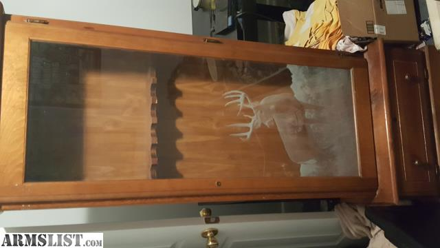 ARMSLIST - For Sale: Deer etched gun cabinet