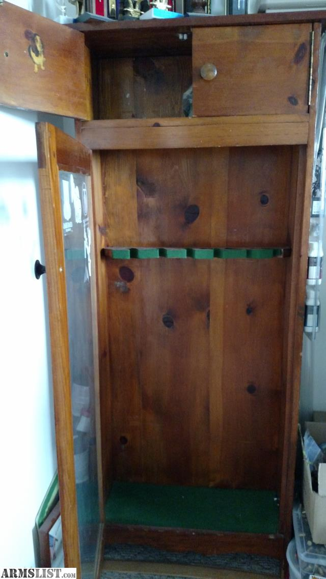 Antique Gun Cabinet, glass front door, NO LOCKS, this was made by my  Grandfather in the late 1950's or early 1960's. I just don't have room for  it anymore. - ARMSLIST - For Sale/Trade: Antique Wood Gun Cabinet