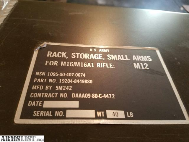 M12 Small Arms Storage Rack For M16/M16A1 36  Wide X 10  Deep X 42 1/2   Tall All aluminum. Will hold other firearms. I have 2 1 is in excellent shape with ... & ARMSLIST - For Sale: M12 Small Arms Storage Rack