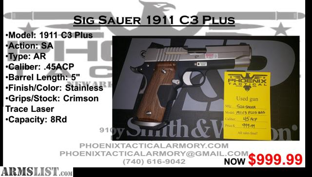 Armslist For Sale Sig Sauer C3 1911 Wcrimson Trace Grips Used