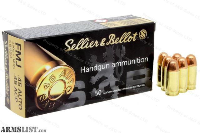 armslist for sale sellier bellot s b ammo 45acp 45 auto 230gr fmj. Black Bedroom Furniture Sets. Home Design Ideas