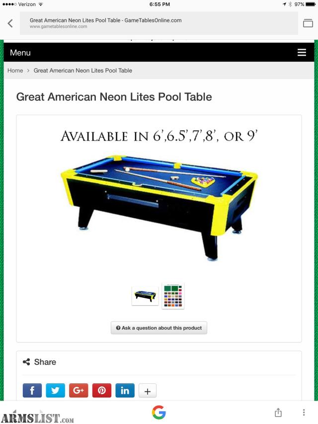 ARMSLIST For SaleTrade All American Neon Lights Pool Table - Sell my pool table