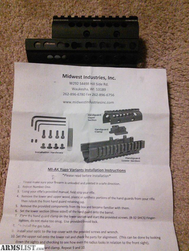 ARMSLIST - For Sale: Midwest Industries Yugo AK Rail Hand Guard
