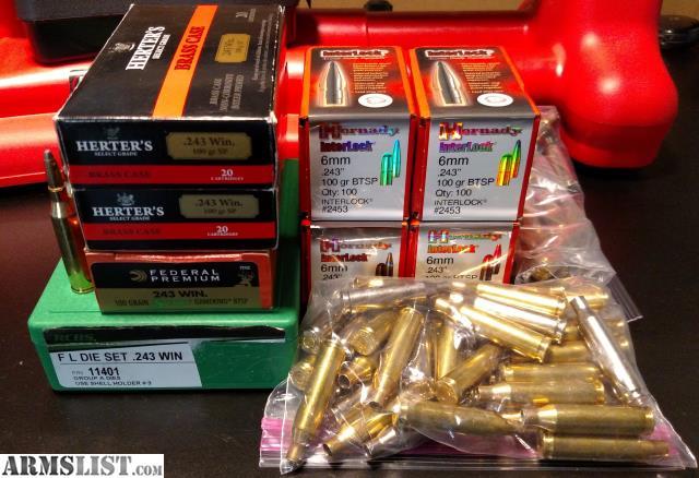 ARMSLIST - For Sale:  243 Reloading Setup - Dies, Bullets