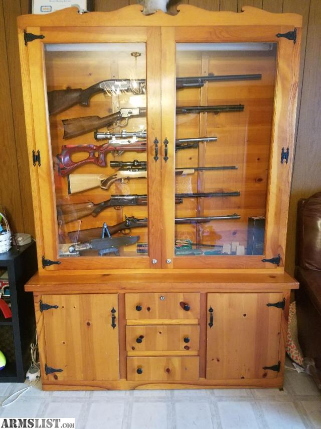 Awesome Gun Cabinet Holds 7 Guns Horizontally And 4 Guns Vertically. It Is Lighted  And A Switch Turns The Light On/off. Each Glass Door Has A Lock To Keep  Kids And ...