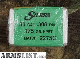 ARMSLIST - For Sale: Sierra MatchKing 308 dia 175 gr  HPBT