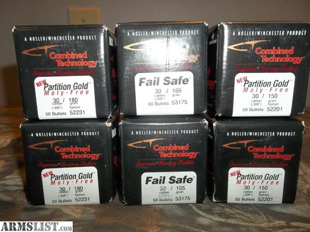 ARMSLIST - For Sale: Nosler Partition Gold 30 cal bullets 300 rounds