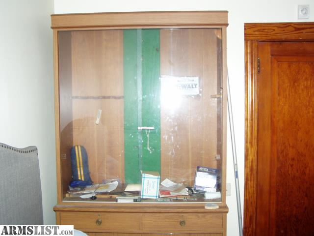 Large Gun Cabinet With Sliding Glass Doors And Drawers And Shelfs Below.  From My Late Brothers Estate.