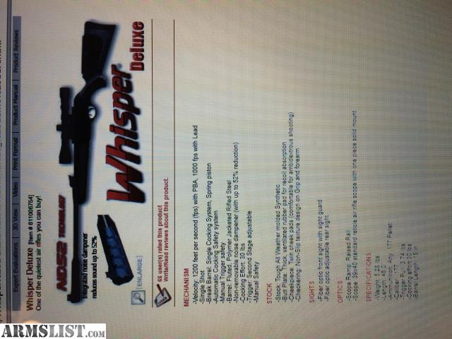 ARMSLIST - For Sale: GAMO WHISPER DELUXE AIR RIFLE WITH SCOPE