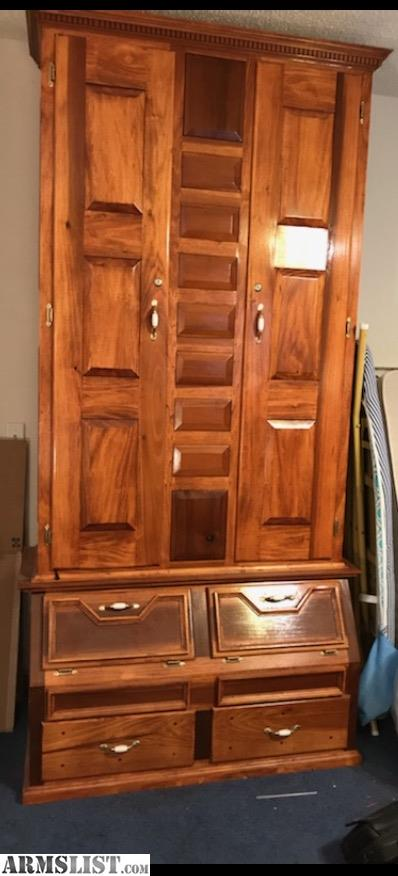 Beautiful Handmade Solid Poplar Wood Gun Cabinet 15 Gun 2 Doors With 4  Compartment Storage In Bottom 7 Ft Tall And 4 Ft Wide...$300 Obo Or Trade  Text Is ...