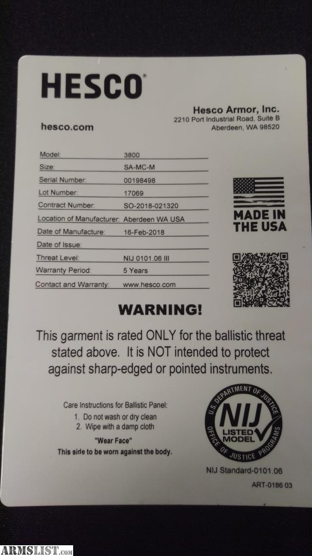 Armslist For Sale Hesco 3800 Ultralightweight Level 3 Body Armor