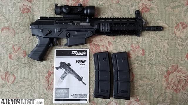 For Sale Sig Sauer 556 Pistol SWAT Quad Rail Piston Takes AR 15 Magazines