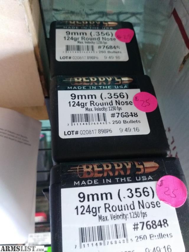 ARMSLIST - For Sale: Berrys Bullets 9mm 124 grain RN