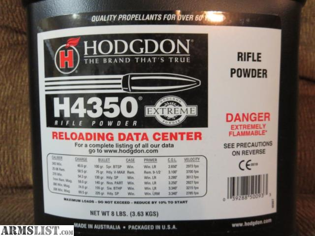 ARMSLIST - For Sale: Hodgdon Extreme H4350 Powder - 6 5 Pounds