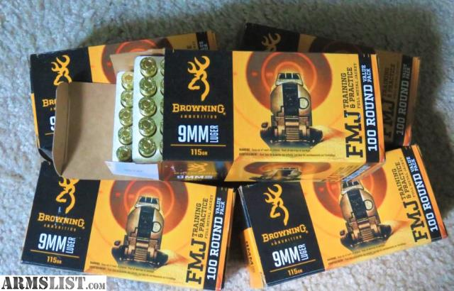 ARMSLIST - For Sale: 9mm Browning ammo 100 rounds for $20