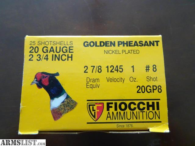 ARMSLIST - For Sale: Fiocchi Golden Pheasant 20 Gauge