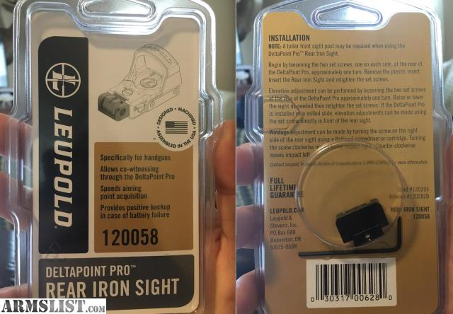 ARMSLIST - For Sale/Trade: leupold deltapoint pro rear iron sight
