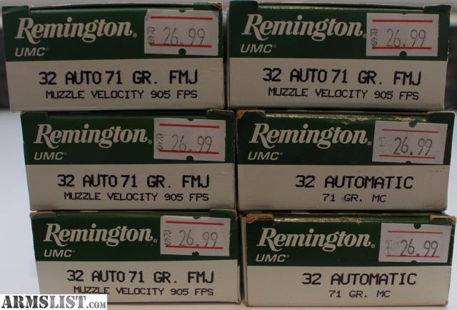 ARMSLIST - For Sale: Remington 32 ACP Ammo 6 Boxes