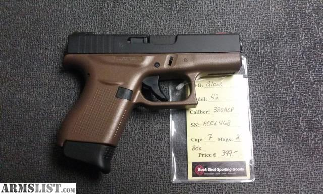ARMSLIST - For Sale: Glock 42  380ACP with Bronze Duracoat, 2 mags