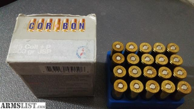 ARMSLIST - For Sale: 20 Rds Corbon 45 Colt +p 300 gr JSP