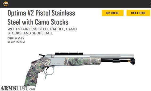 ARMSLIST - For Sale: Optima CVA 50 Cal pistol